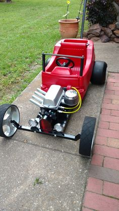 Custom Gas Powered Scooter walk around Go Kart, Cycle Kart, Kids Go Cart, Kids Wagon, Radio Flyer Wagons, E Motor, Car Jokes, Karts, Little Red Wagon