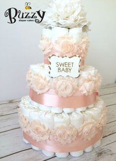 Pink diaper cakes for baby girl shower, baby shower centerpiece, shabby chic diaper cake