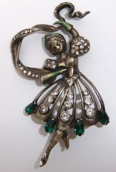 RARE Vtg Eisenberg Sterling Silver Enamel Rhinestone Russian Lady Dancer Brooch