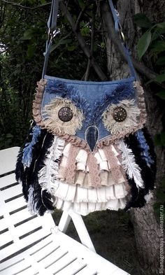 Купить Бохо сумка ОН ПРИЛЕТЕЛ... - синий, звериная расцветка, джинсовая сумка
