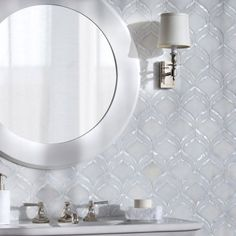 Adonis, a waterjet mosaic shown in honed Afyon White and Shell, is part of the Aurora® collection by New Ravenna. - Honed Afyon White and Shell Mosaic Bathroom, Bathroom Wall, Stone Mosaic, Mosaic Glass, Backsplash Arabesque, Kitchen Backsplash, New Ravenna, Glass Brick, Interior Decorating