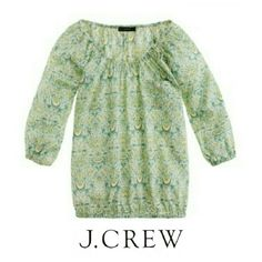 JCrew liberty peasant top in lodden paisley Runs big!  Fits up to size small!   Blues,greens,yellow and white, cotton, loose fit, 3/4 sleeves, machine wash J. Crew Tops Blouses