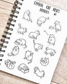 cat doodles for Bullet journal repost: ginger.journal I am definitely a cat person😽 There is the most sweet soft ball of black fur named Chester live in my house🤗😍 And I found this cute cat doodles on the package of cat litter😂🚽 Bullet Journal Art, Bullet Journal Ideas Pages, Bullet Journal Inspiration, Bullet Journal Decoration, Bullet Journal For Kids, Simple Doodles, Cute Doodles, Funny Doodles, Doodle Drawings