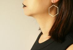 Hexagon hoop earrings, by Sora Designs, made in the US by hand.