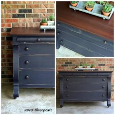 """Sophisticated Navy"" Empire Dresser painted with custom mixed GF Milk Paints… Navy Furniture, Furniture, Repurposed Furniture, Furniture Rehab, Painted Furniture, Furniture Inspiration, Redo Furniture, Empire Dresser, Refinishing Furniture"