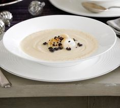 For a show-stopping dinner party, James Martin recommends this peppery soup, topped with luxurious seafood