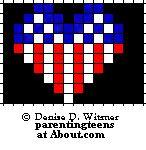 Patriotic Beaded Safety Pin Patterns: Patriotic Heart Pattern