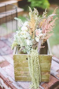 In love with these flowers - can't tell you exactly what they all are - but... love 'em!! Wedding on SMP: http://www.StyleMePretty.com/2014/03/05/rustic-woodland-wedding-at-juliane-james-place/ Photography: Paper Antler
