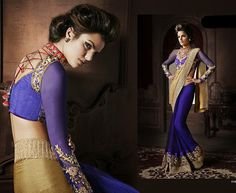 Blue and beige embroidered georgette saree with blouse