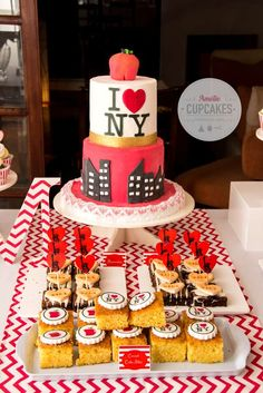 Themed desserts at a New York birthday party! See more party ideas at CatchMyParty.com!