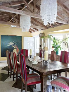 """The dining room walls are painted mustard yellow """"because yellow goes so well with candlelight,"""" designer and owner Liza Pulitzer Calhoun says. Chairs are covered in Peruvian wedding blankets."""