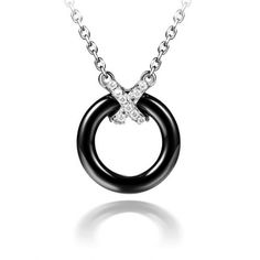 925 Silver Cross Clasp With Paved CZ And Ceramic Hoop Necklace Wholesale China