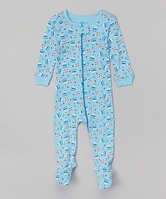 Another great find on #zulily! Blue Boats & Stars Footie - Infant, Toddler & Boys by Leveret #zulilyfinds