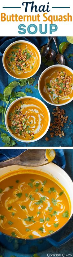 Thai Butternut Squash Soup – Easy, flavorful and so delicious! Thai Butternut Squash Soup – Easy, flavorful and so delicious! Healthy Soup Recipes, Crockpot Recipes, Vegetarian Recipes, Cooking Recipes, Thai Butternut Squash Soup, Slow Cooker Soup, Soup And Salad, Asian Recipes, Thai Recipes