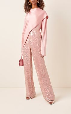 Sequined Crepe Straight-Leg Pants by Sally LaPointe Pink Fashion, Fashion Dresses, Jeanne Lanvin, Vogue Knitting, Satin Top, Perfect Pink, Straight Leg Pants, Stylish Outfits, Kimono