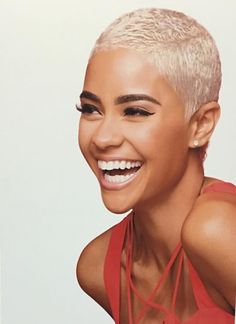 Perfec Blonde Hairstyle For Short Hair 220 Natural Hair Care, Natural Hair Styles, Pelo Afro, Sassy Hair, Shaved Hair, Afro Hairstyles, Twa Haircuts, Updo Hairstyle, Black Hairstyles