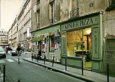 Kosher Pizza Shop Paris Storefront Jewish Art by EclecticForest, $5.00
