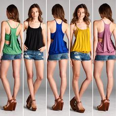 T17177 Loose fit spaghetti strap scoop round neck 2-fer tank top. Waistband. Shirring at front neckline. Racerback with elastic shirring. Low armhole. Attached bandeau has elastic at bottom. This 2-fer tank top is made with heavyweight knit jersey that is very soft drapes well and stretches very well.  #cherishusa #cherishapparel #shopcherish #summerfashion #fashionbuyer #boutique #fashion #fashiondiaries #instafashion #instastyle #fashionstyle #ootd #fashionable #fashiongram #summerstyles…