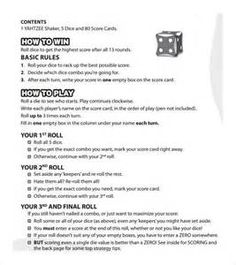 Astounding image throughout yahtzee rules printable