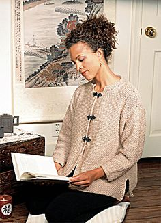 Knitted Mandarin Collar Cardigan