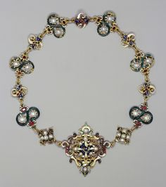 Parure with necklace, brooch and earrings made from enamelled gold, pearls, rubies and emeralds, late 16th century with later additions. Cou...