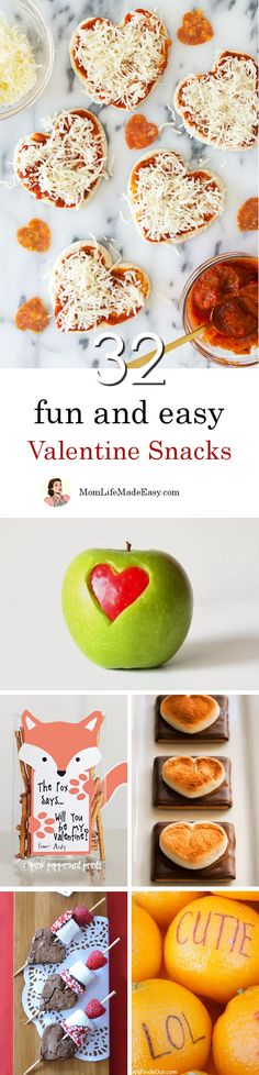 Creating fun and easy Valentine snacks for your kids shouldn't take hours of work. Here are 32 quick and easy Valentine treats that are perfect for lunches, classroom parties, or just because!