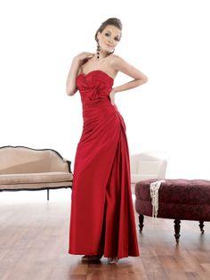 Sweetheart taffeta evening dress with dropped waist