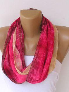 scarf infinity scarfchiffonloopcircle scarvessoft sequins by seno, $15.00