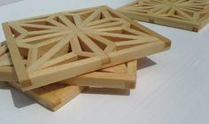 Wood Art Coaster Set - Fine Woodwork - Geometric Unique Table Accent