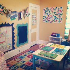 Preschool 31 Clever And Inexpensive Ideas For Teaching Your Child At Home - Preschool Children Activities Preschool Rooms, Daycare Rooms, Home Daycare, Daycare Crafts, Preschool At Home, Preschool Classroom, Classroom Decor, Preschool Ideas, Daycare Ideas