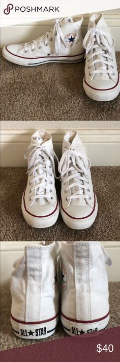 🌈CONVERSE WHITE HIGH TOP SNEAKERS🌈 Converse white high top sneakers cleaned and ready to wear.Ladies size 9.get a jumpstart on your spring and summer wardrobe! Converse Shoes Sneakers