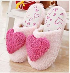 Lovely Ladies Home Floor Soft Women indoor Slippers Outsole Cotton-Padded Shoes Female Cashmere Warm Casual Shoes Winter Slippers, Soft Slippers, Cute Slippers, Sewing Slippers, Shearling Slippers, Women's Shoes, Dress Shoes, Cute Love Heart, Bedroom Slippers