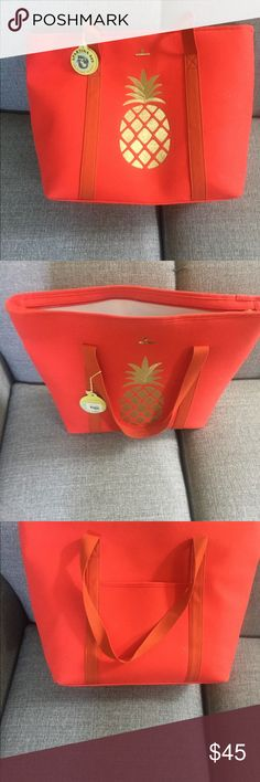 Spartina 449 Orange Cooler with Pineapple NWT Spartina cooler with pineapple embroidered in gold Spartina 449 Bags Totes