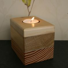 Hand crafted votive, tea light candle holder. created using reclaimed wood.