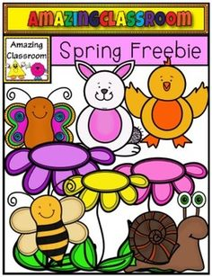 Spring is on the way!, or at least pretend it is with this cute, brightly colored, spring freebie!  This clip art set includes 14 high quality transparent png images (meaning no white background around them).  8 Colored and 6 black lined are included.