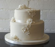 Rose and blossom 2 tier ivory wedding cake by allertadele, via Flickr