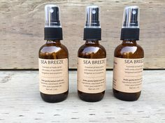 """This Sea Breeze body spray includes a crisp, refreshing blend of essential oils, including eucalyptus, bergamot and rosemary. The blend is uplifting and bright, reminiscent of a lovely, breezy day at the seaside. I use only the highest-quality essential oils in my all-natural fragrance sprays.  This is not meant to be strong, overpowering """"perfume,"""" as mainstream synthetic fragrances can be. Rather, its a light, refreshing, natural spray. It can be sprayed on your clothes or directly on your…"""