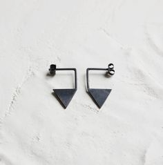 Silver geometric earrings by AgJc on Etsy