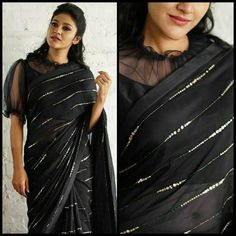 Launching Superhit Concept In Beautiful Sequence Work Saree....*👇 DETAILS 👇**▪ FABRIC :* Heavy Georgette*▪ WORK :* Beautiful Sandwich Sequence Work With Golden Zari Work *😍Using Gliter/Zari Sequence For Make Saree Looks More Beautiful**▪BLOUSE :* Banglori & Soft Net*🔴 SAREE HAVING A FULL 5.5 MTR WORK*👍 SUPREME QUALITY PRODUCT😍BE AWARE FROM LOW QUALITY PRODUCT AND COPIED ITEMS😍 Saree Blouse Neck Designs, Fancy Blouse Designs, Blouse Patterns, Black Saree Designs, Netted Blouse Designs, Sari Bluse, Party Kleidung, Stylish Blouse Design, Stylish Sarees