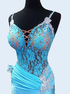 Blue Dance Dress   Blue   Ballroom Dresses by DesignByNatasha #Aqua #Ballroomdress #Unique