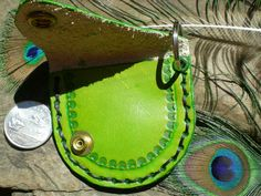 leather keychain coin pouch catus green. $10.00, via Etsy.