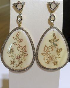 Pendientes de#ónix blanco y #diamante grande de talla antigua - 1.650€