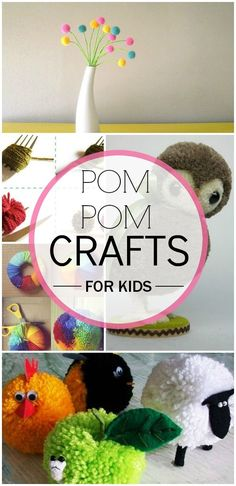 5 Adorable Pom Pom Crafts For Your Kids To Do With Leftover Bits Of Yarn: There are plenty Pom Pom craft ideas for kids and here is a list of the top 10 crafts that you and your kids will absolutely love # yarn animals Yarn Crafts For Kids, Cute Crafts, Crafts For Teens, Crafts To Do, Easy Crafts, Arts And Crafts, Children Crafts, Creative Crafts, Yarn Animals