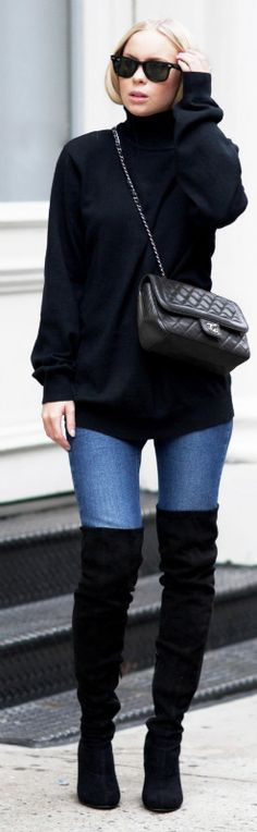 This combination of a black polo neck sweater, denim jeans, and black over the knee boots is a perfect autumn/winter look. Victoria Tornegren finishes the look with a cross body mini bag and a pair of sunnies. Jeans/Boots: Asos, Sweater: Old one, Bag: Chanel. Cute Fall Outfits.