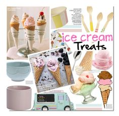 """Ice Cream Treats"" by kusja ❤ liked on Polyvore featuring interior, interiors, interior design, home, home decor, interior decorating, Robbe & Berking, Kate Spade, Crate and Barrel and Meri Meri"