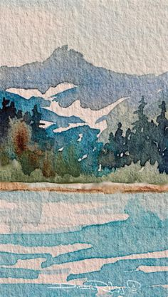 mountain landscape watercolor, blue teal and greens, debiriley.com