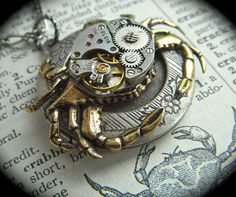 Necklace Steampunk Jewelry Rustic Crab Locket Antique Vintage Watch Movement Gothic Victorian Brass & Silver Mixed Metals Round Pendant