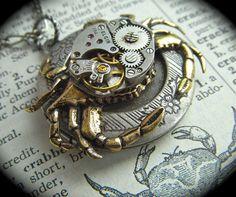 watch cog crab steampunk locket!