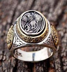 Biker Rings : Sterling Silver Rings for Men Cool Rings For Men, Unique Mens Rings, Rings Cool, Simple Rings, Men Rings, Gothic Rings, Gothic Jewelry, Silver Jewelry, Silver Earrings