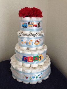 The Baby Boy Playtime 4 Tier Diaper Cake by ArricksBabyCakes
